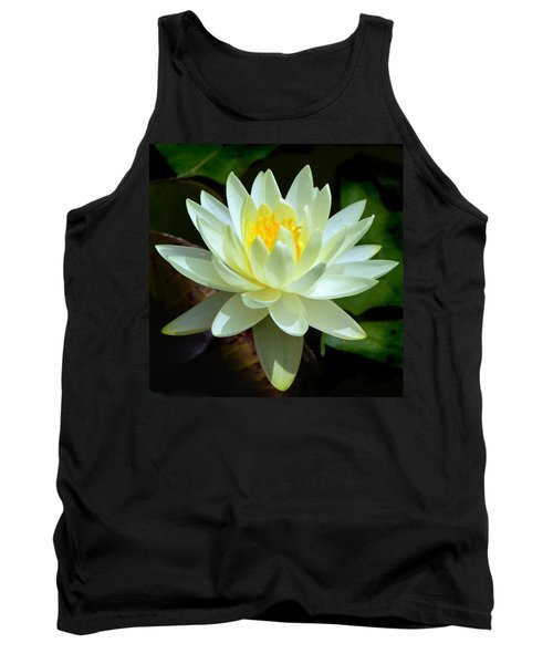 Single Yellow Water Lily Tank Top by Kathleen Stephens