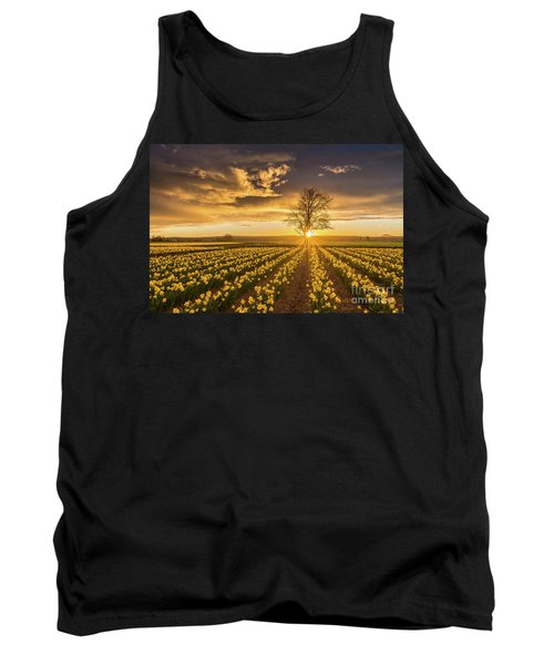Tank Top featuring the photograph Skagit Valley Daffodils Sunset by Mike Reid