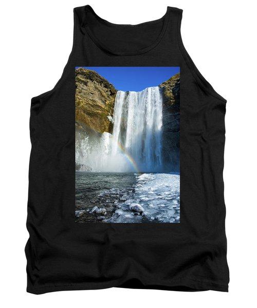 Skogafoss Waterfall Iceland In Winter Tank Top by Matthias Hauser