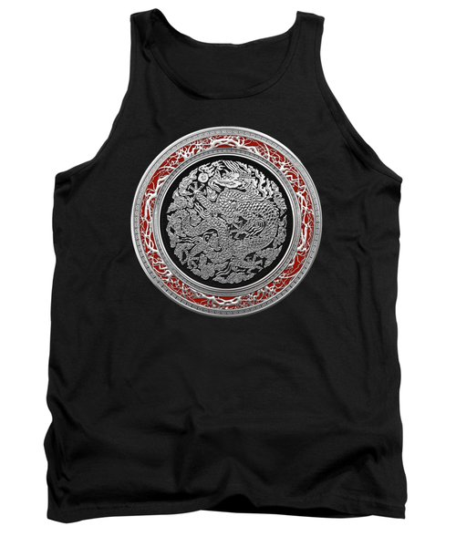 Sliver Chinese Dragon On Black Velvet Tank Top