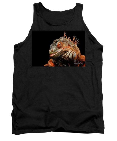 smiling Orange iguana isolated on black  Tank Top