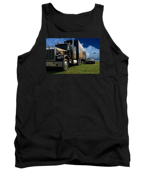 Smokey And The Bandit Tribute 1973 Kenworth W900 Black And Gold Semi Truck And The Bandit Transam Tank Top by Tim McCullough