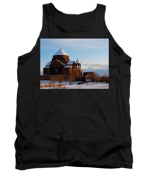 Snow Capped St. Hripsipe Church At Winter, Armenia Tank Top