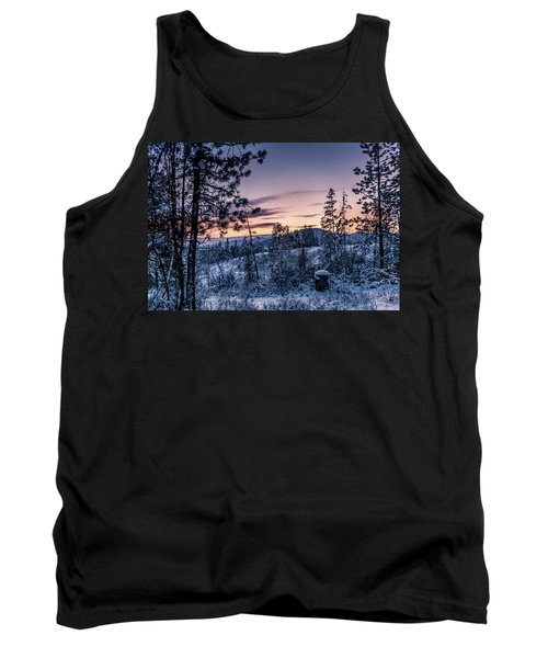 Snow Coved Trees And Sunset Tank Top