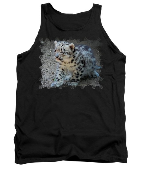 Tank Top featuring the photograph Snow Leopard Cub Paws Border by Terry DeLuco