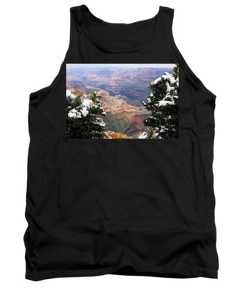 Snowy Dropoff - Grand Canyon Tank Top by Larry Ricker