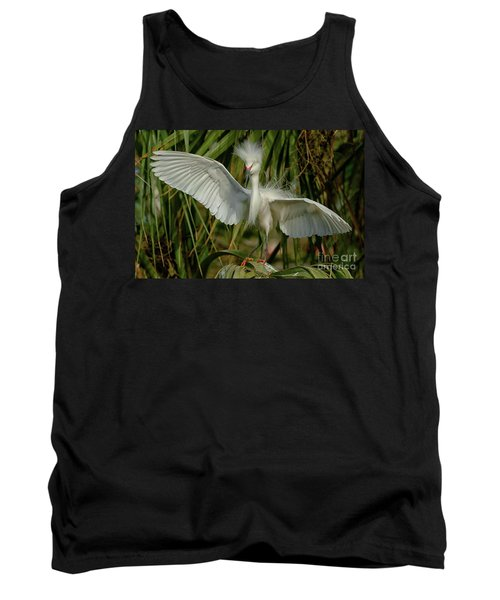 Snowy Egret In The Trees Tank Top