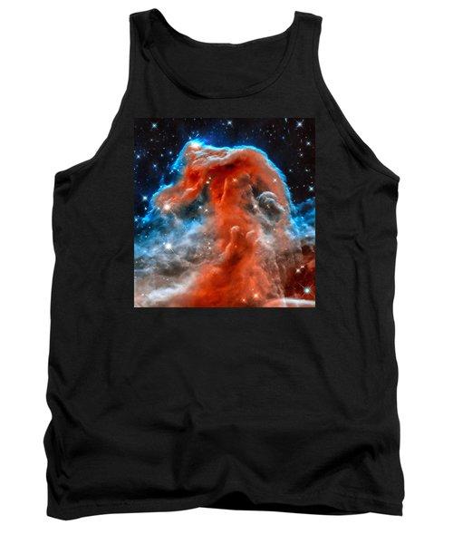 Space Image Horsehead Nebula Orange Red Blue Black Tank Top by Matthias Hauser