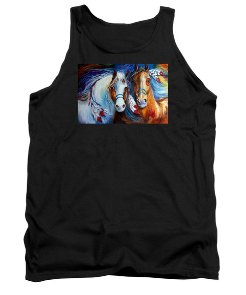 Spirit Indian War Horses Commission Tank Top by Marcia Baldwin