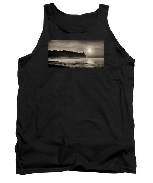 Tank Top featuring the photograph Split Rock Lighthouse Emerging Fog by Rikk Flohr