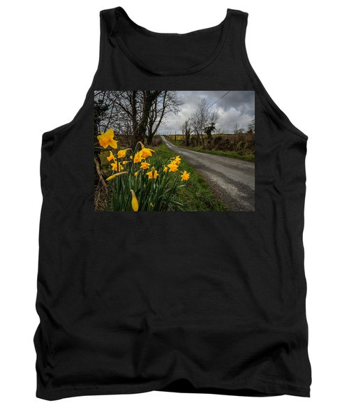 Tank Top featuring the photograph Spring Daffodils On An Irish Country Road by James Truett
