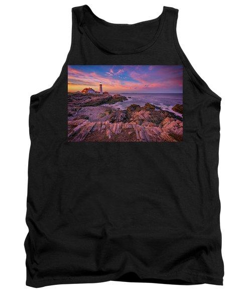 Spring Sunset At Portland Head Lighthouse Tank Top by Rick Berk