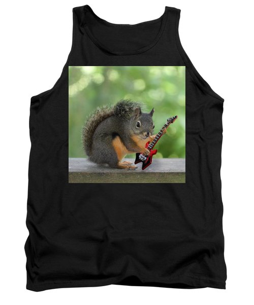 Squirrel Playing Electric Guitar Tank Top