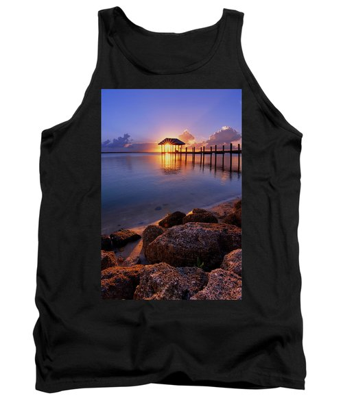 Starburst Sunset Over House Of Refuge Pier In Hutchinson Island At Jensen Beach, Fla Tank Top