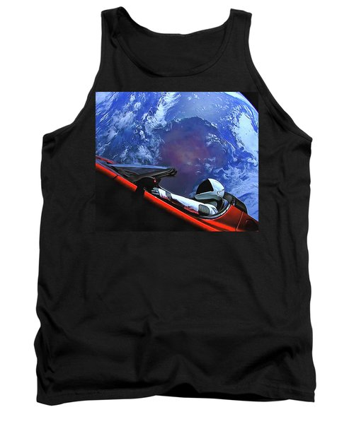 Starman In Tesla With Planet Earth Tank Top