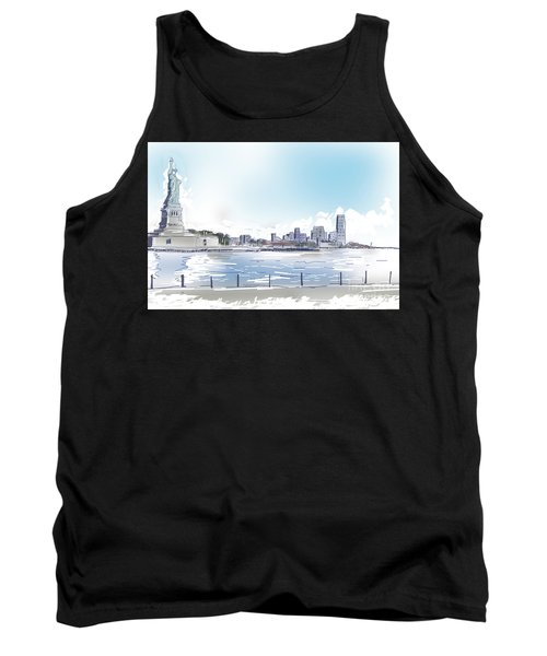 Statue Of Liberty And New York City Illustration  Tank Top