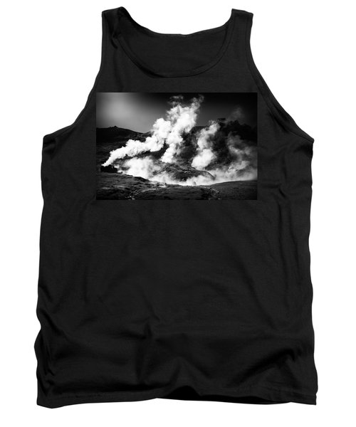 Tank Top featuring the photograph Steaming Iceland Black And White Landscape by Matthias Hauser