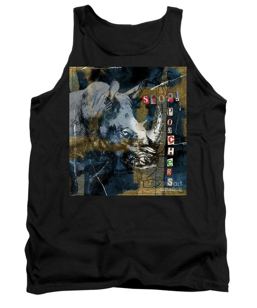 Tank Top featuring the digital art Stop Rhino Poachers Wildlife Conservation Art by Nola Lee Kelsey