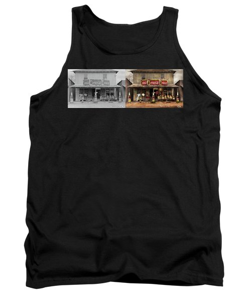Tank Top featuring the photograph Store - Grocery - Mexicanita Cafe 1939 - Side By Side by Mike Savad