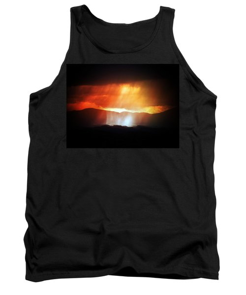 Tank Top featuring the photograph Storm Glow Night Over Santa Fe Mountains by Joseph Frank Baraba