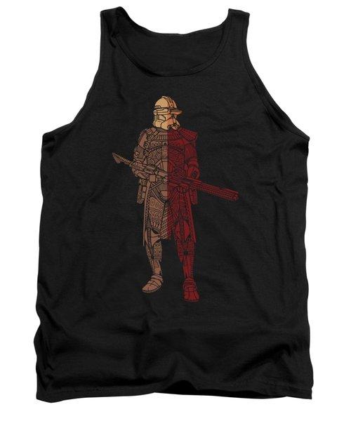 Stormtrooper Samurai - Star Wars Art - Red Brown Tank Top