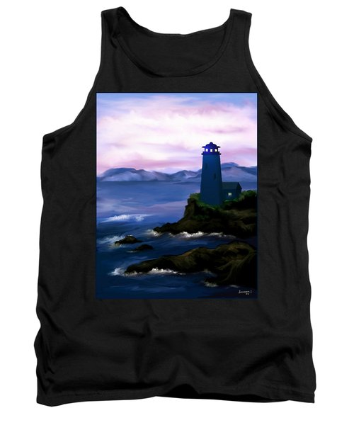 Tank Top featuring the painting Stormy Blue Night by Susan Kinney