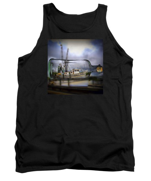 Stormy Seas - Ship In A Bottle Tank Top by Bill Barber