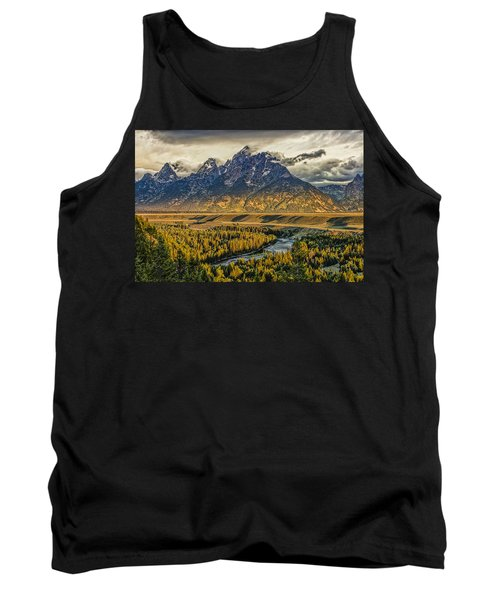 Stormy Sunrise Over The Grand Tetons And Snake River Tank Top