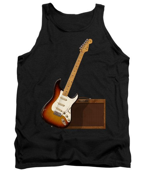 Tank Top featuring the digital art Strat And Tweed Amp by WB Johnston