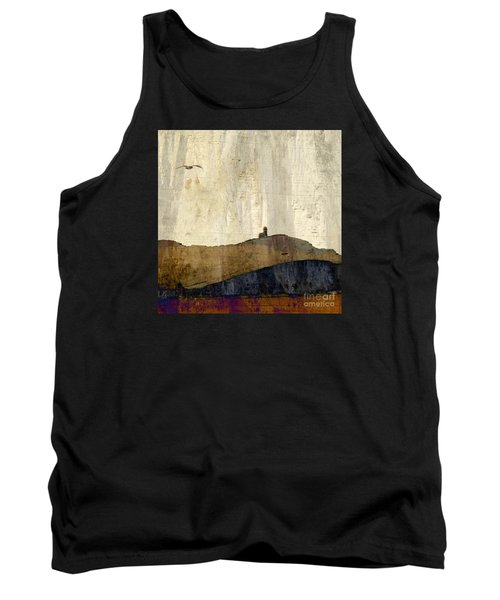 Tank Top featuring the photograph Strata With Lighthouse And Gull by LemonArt Photography