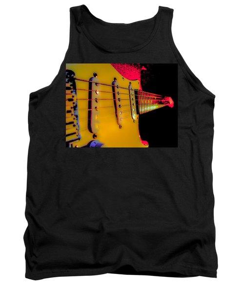 Tank Top featuring the photograph Guitar Pop Art Hot Rasberry Fire Neck Series by Guitar Wacky