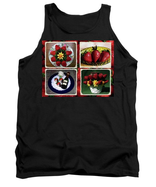 Strawberry Collage Tank Top by Sally Weigand