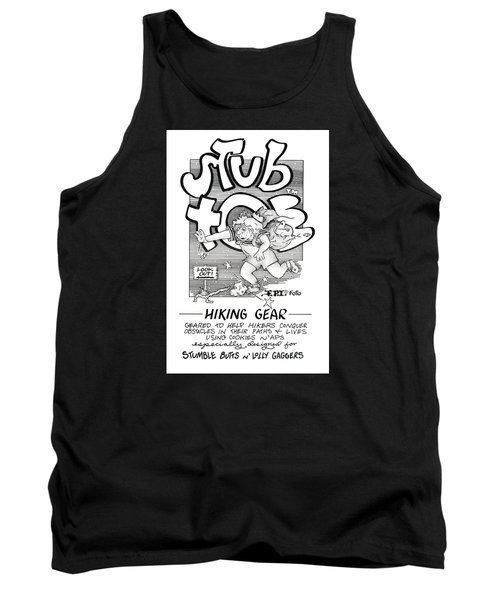 Tank Top featuring the drawing Real Fake Newsstub Toe Hiking Gear Ad by Dawn Sperry