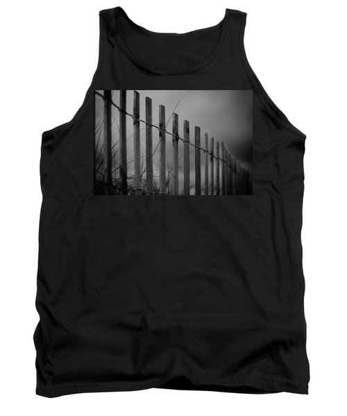 Tank Top featuring the photograph Summer Storm Beach Fence Mono by Laura Fasulo
