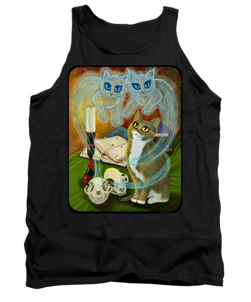 Tank Top featuring the painting Summoning Old Friends - Ghost Cats Magic by Carrie Hawks
