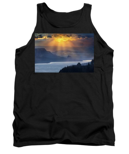 Sun Rays Over Columbia River Gorge During Sunrise Tank Top