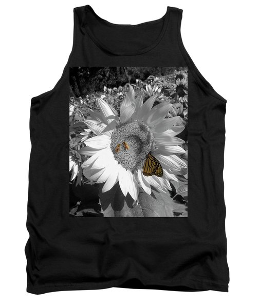 Sunflower In Black And White Tank Top