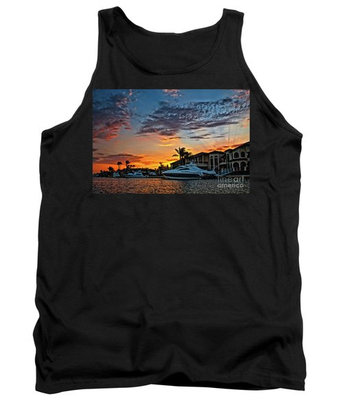 Sunrays Sunset Over Huntington Harbour Tank Top by Peter Dang