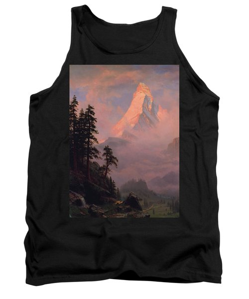 Tank Top featuring the painting Sunrise On The Matterhorn         by Albert Bierstadt