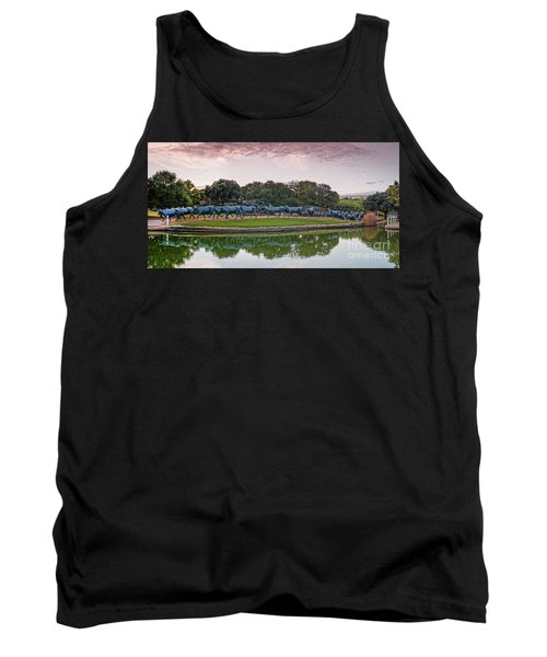 Sunrise Panorama Of Cattle Drive Sculpture At Pioneer Plaza - Downtown Dallas North Texas Tank Top