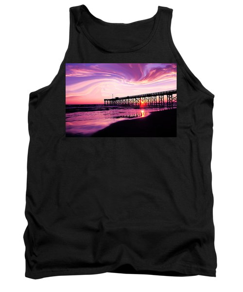 Sunset At The Pier Tank Top by Eddie Eastwood