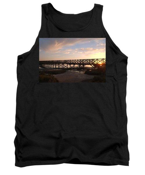 Sunset At The Wooden Bridge Tank Top