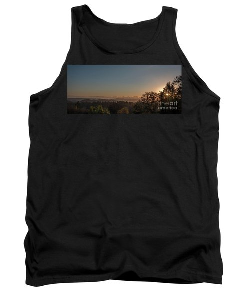 Sunset Behind Tree With Forest And Mountains In The Background Tank Top