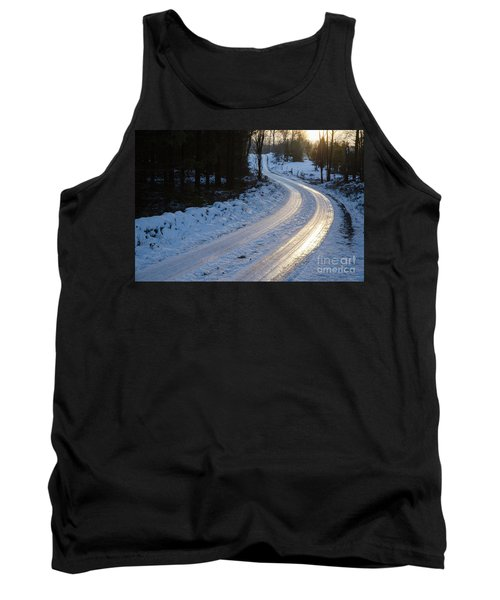 Sunset By An Icy Country Road Tank Top