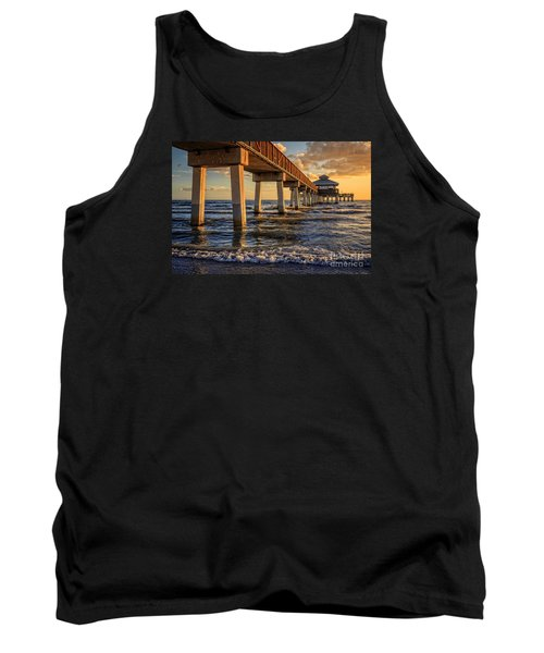 Tank Top featuring the photograph Sunset Fort Myers Beach Fishing Pier by Edward Fielding