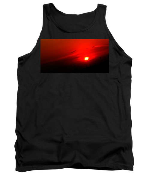 Sunset Geese Leaving Disappearing City - 0814  Tank Top by Michael Bessler