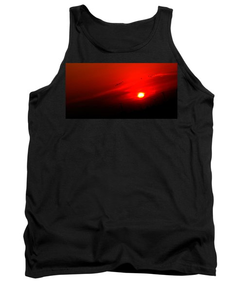 Sunset Geese Leaving Disappearing City - 0814  Tank Top