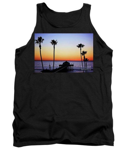Sunset On Manhattan Beach Pier Tank Top