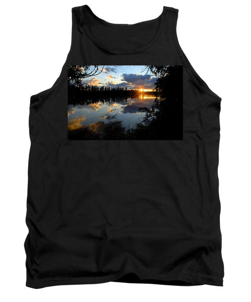 Sunset On Polly Lake Tank Top by Larry Ricker