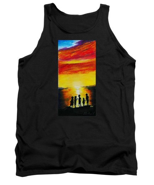 Sunset On The Great Salt Lake Tank Top by Sherril Porter